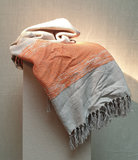 Throw Cotton Beige Dark Orange 130x170_