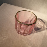 Glass Facet Gold Edge Votive Holder Light Pink_