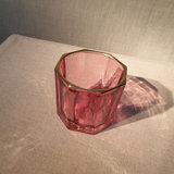 Glass Facet Gold Edge Votive Holder Red_