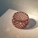 Round 3D Net Glass Votive Holder Grey Pink_