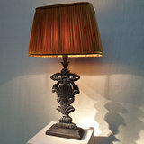 Table Lamp Victorian Black Wood With Gold Velvet Pleated Lightshade_