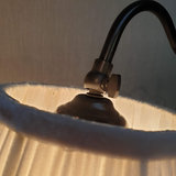 Table Lamp Cigno Black Brown With Creme Velvet Pleated Lightshade_