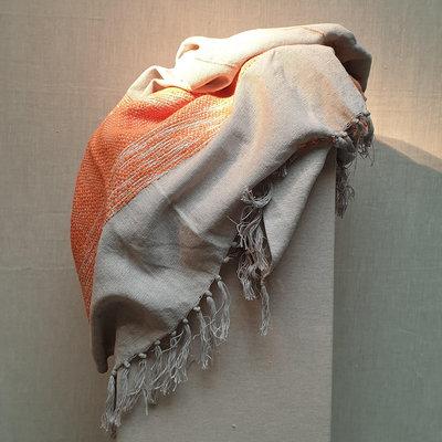 Throw Cotton Beige Dark Orange 130x170
