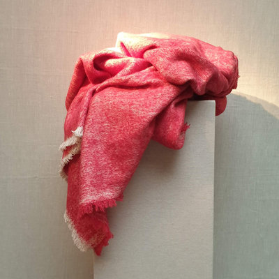Throw Fake Mohair Red 130x170