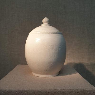 Witte Houten Pot H23