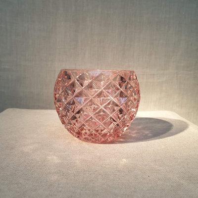 Round 3D Net Glass Votive Holder Light Pink