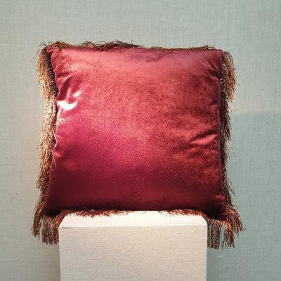 Cushion Velvet Fringe Aubergine Burgundy 45x45