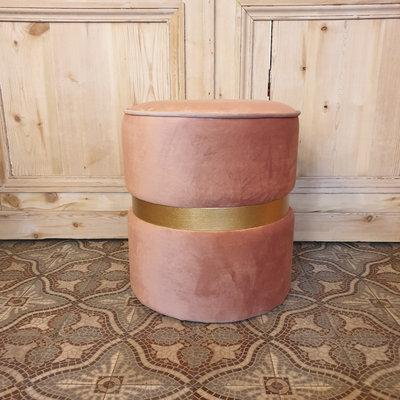 Pouf Velvet Royal Pink With Ring H45xD45