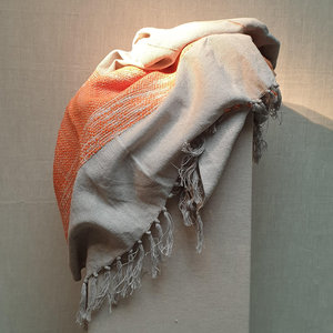 Throw Cotton Beige Dark Orange 130x170