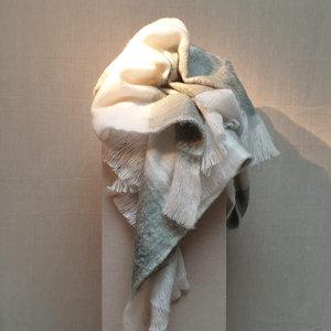 Throw Fake Mohair White Grey 130x170
