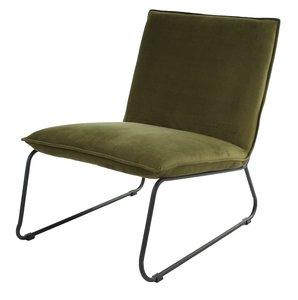 Lounge Chair Logan Velours Dark Green