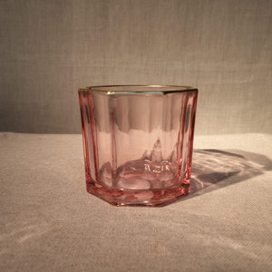 Glass Facet Gold Edge Votive Holder Light Pink