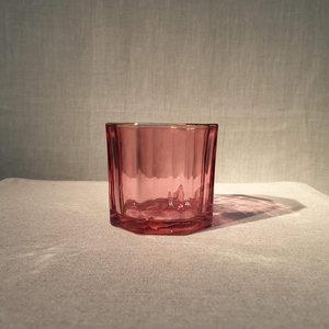 Glass Facet Gold Edge Votive Holder Red