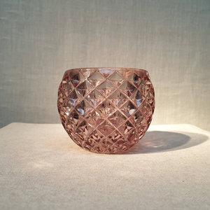 Round 3D Net Glass Votive Holder Grey Pink
