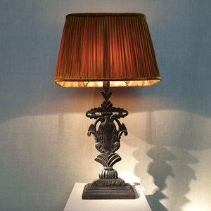 Table Lamp Victorian Black Wood With Gold Velvet Pleated Lightshade