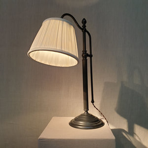 Table Lamp Cigno Black Brown With Creme Velvet Pleated Lightshade
