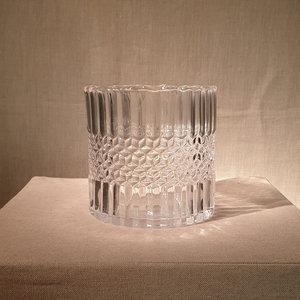 Candleholder Cylinder Antique Glass H12,5cm