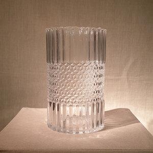 Candleholder Cylinder Antique Glass H20,5cm